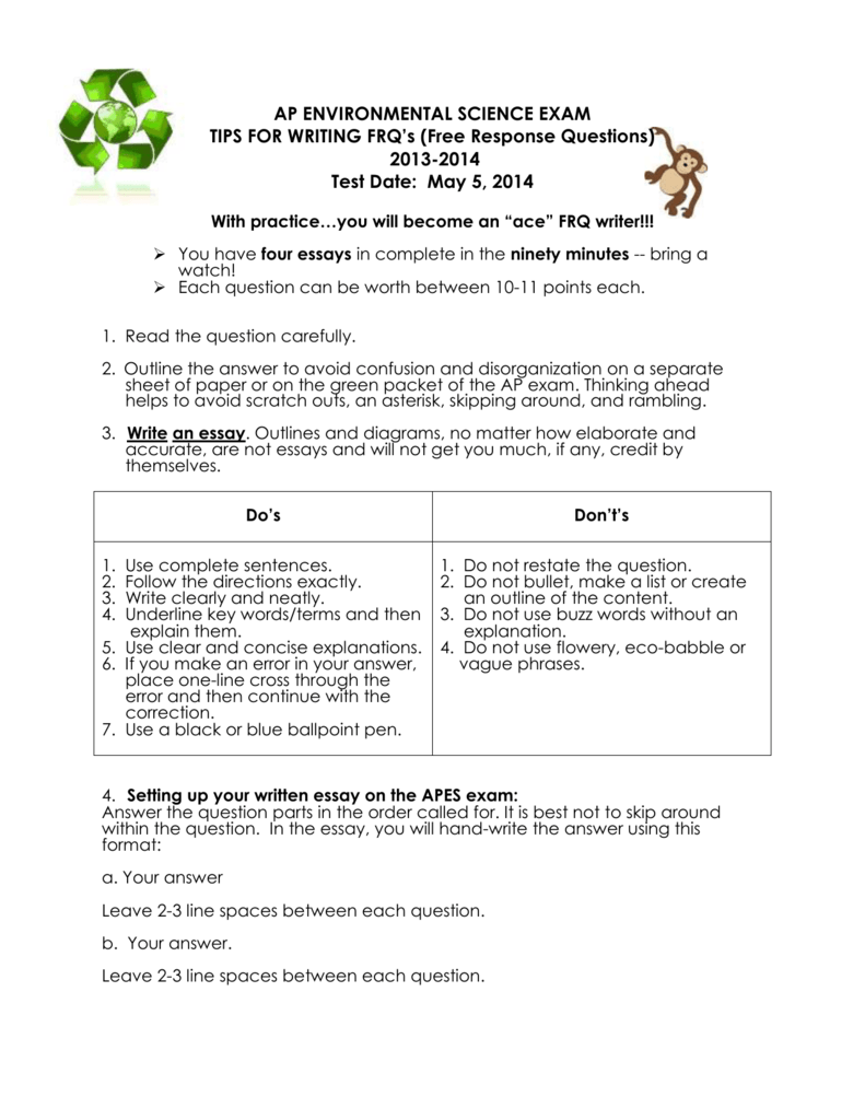 2014 ap environmental science free response answers section 2