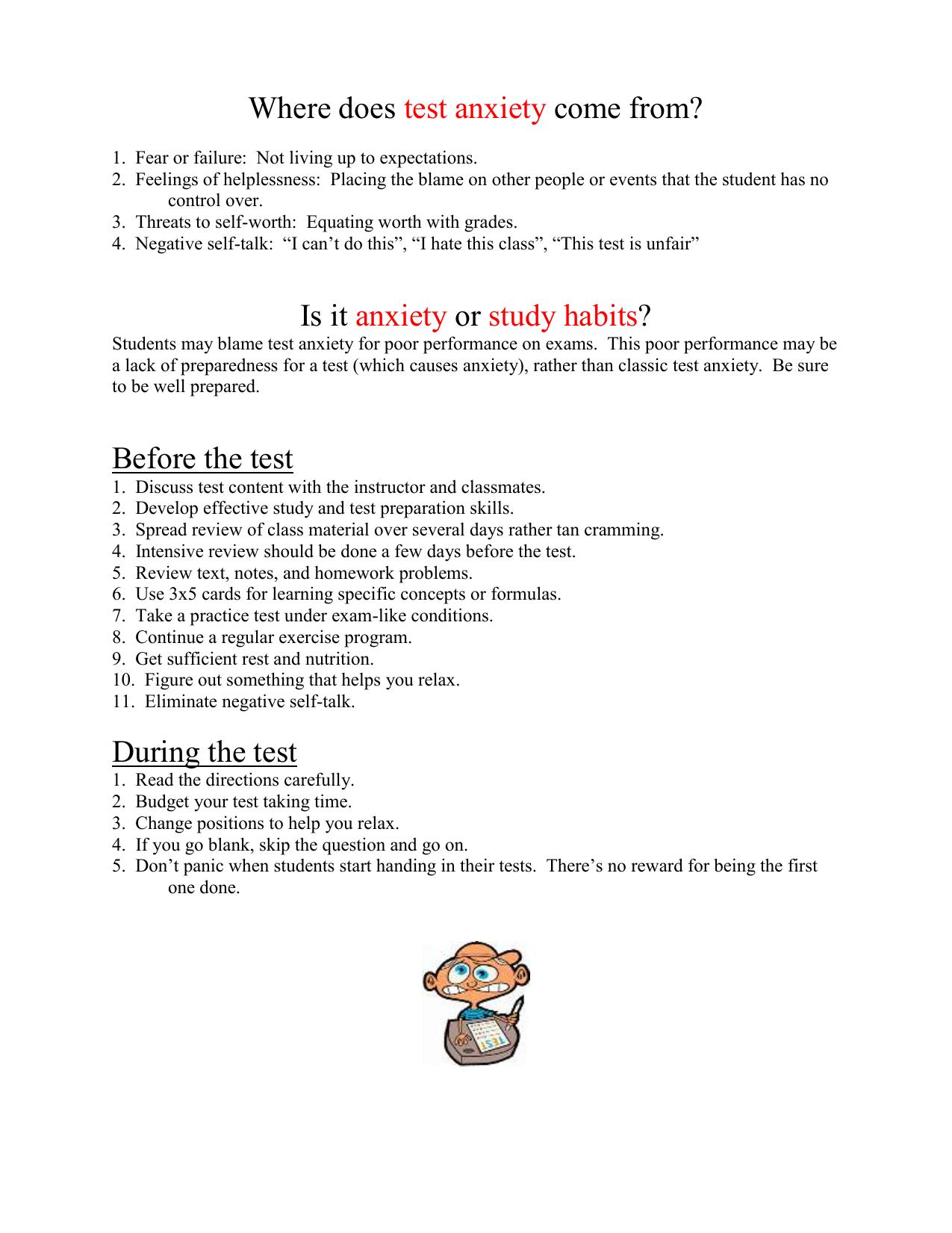 Worksheets Test Anxiety Worksheets test anxiety handout