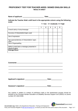 Proficiency test for Teacher Aides - Signed English