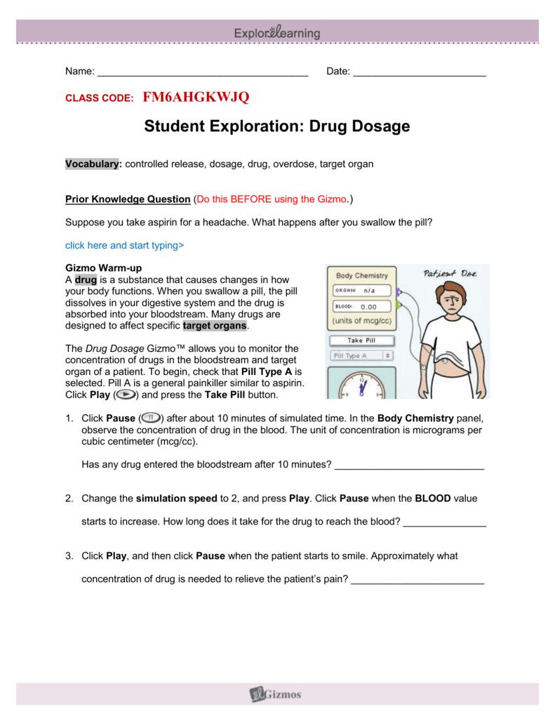 Drug Dosage Lab Worksheet w/Code