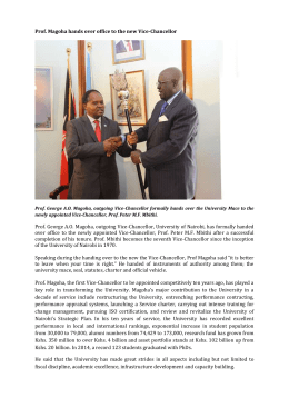 Prof. Magoha hands over office to the new Vice