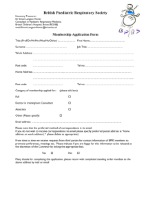 application form - British paediatric respiratory society
