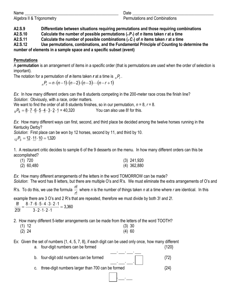worksheet Permutations And Combinations Worksheet With Answers worksheet