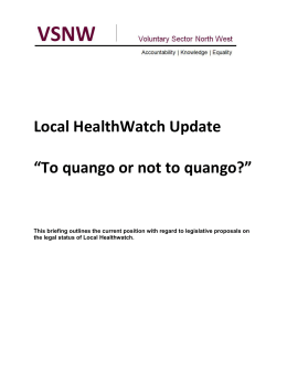 Local HealthWatch Update