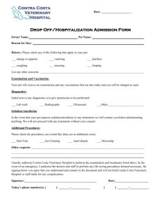 Drop Off Hospitalization Form - Contra Costa Veterinary Hospital