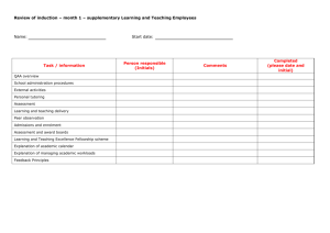 Month 1 - supplementary for Learning and Teaching staff