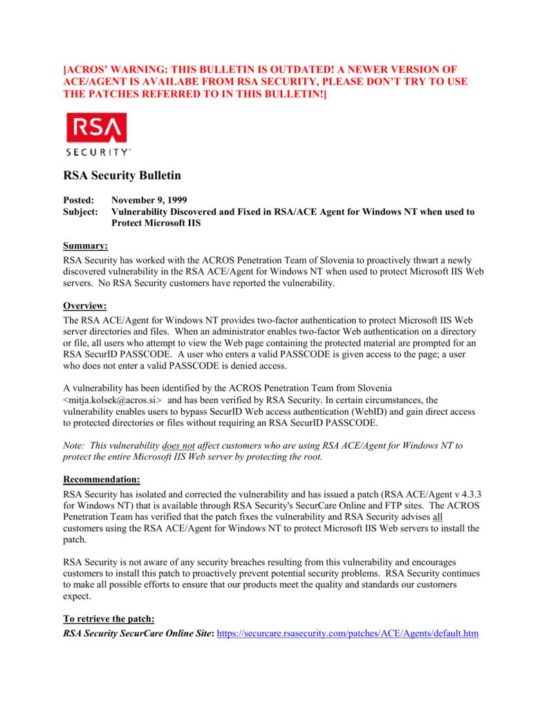 RSA Security Bulletin