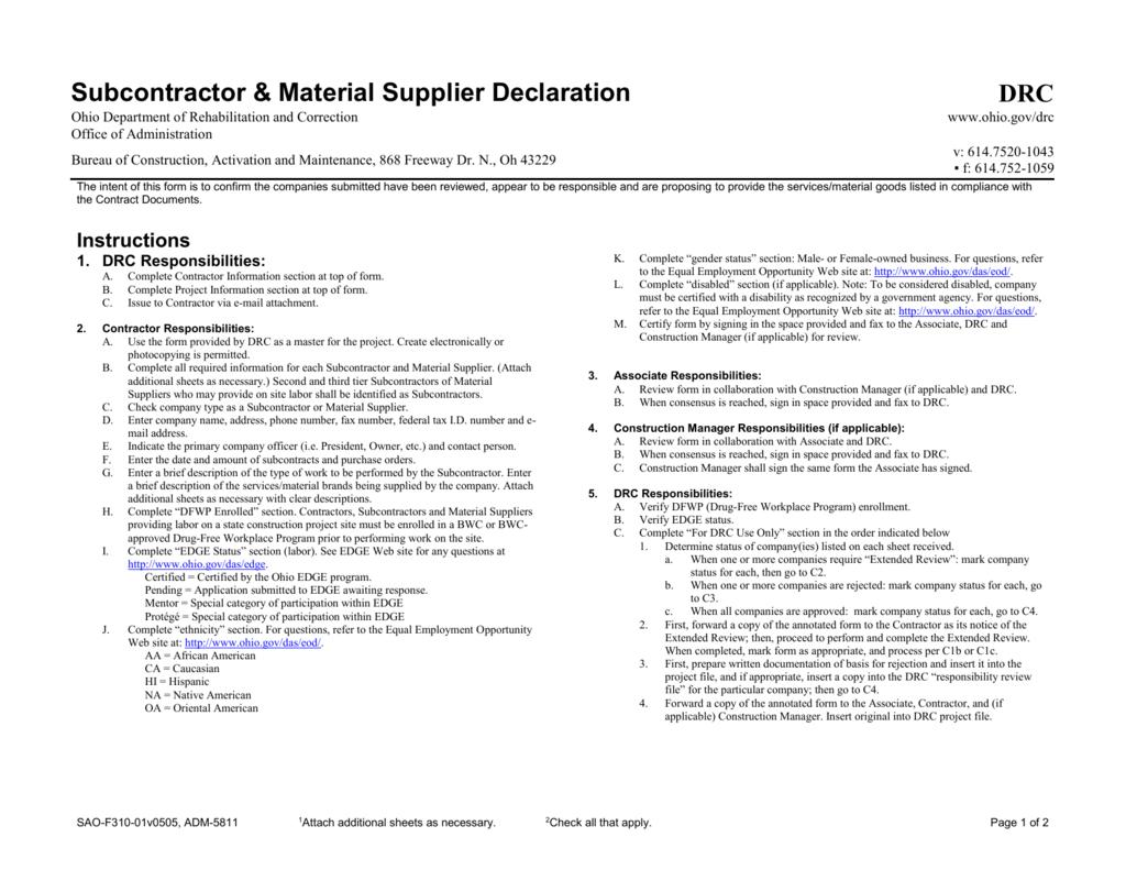 subcontractor material supplier declaration