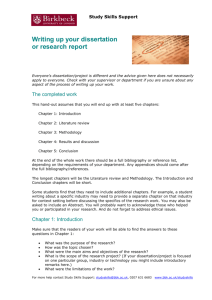 Writing up your dissertation or research report
