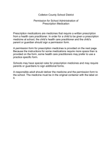 Permission for School Administration of Prescription Medication