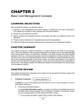 Chapter 2--Basic Cost Management Concepts
