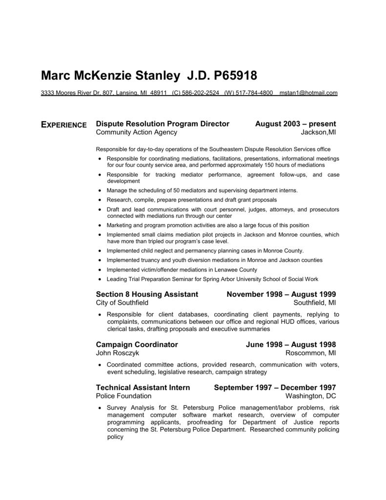 Marc McKenzie Stanley JD P65918 - Department of Political