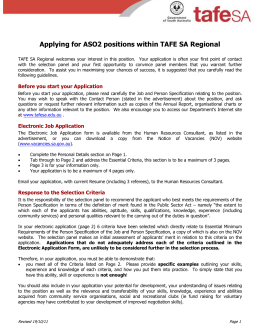 Applying for ASO2 positions within TAFE SA Regional TAFE SA