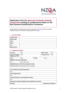 Application for approval of industry training programmes form