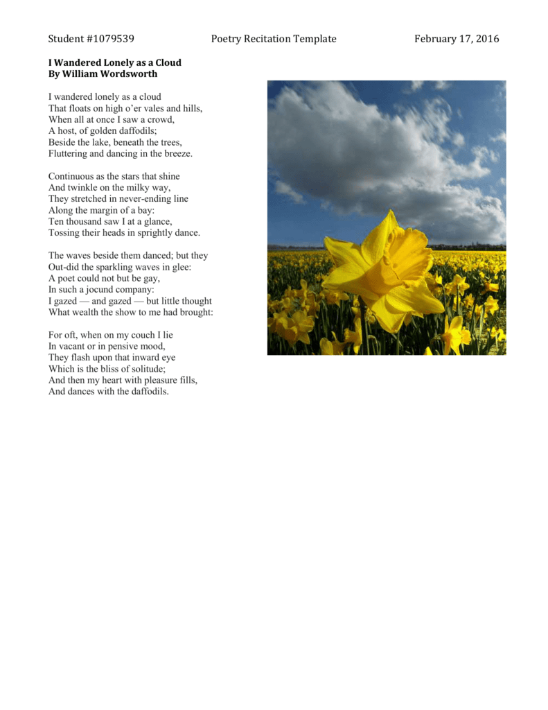 william wordsworth poem i wandered lonely as a cloud