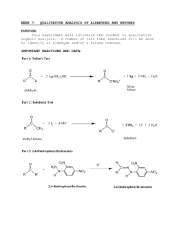 Qualitative Tests for Carbonyls: Aldehydes vs. Ketones