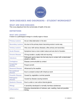SKIN DISEASES AND DISORDERS – STUDENT WORKSHEET