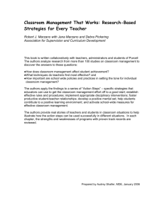 Classroom Management That Works: Research