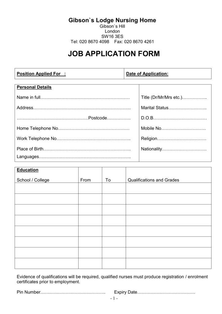 application form in Word format