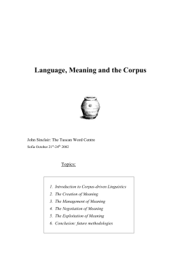 Introduction to Corpus-driven Linguistics