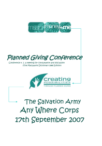 Planned Giving Conference - Salvation Army Australia