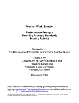 Teacher Work Sample - Valdosta State University