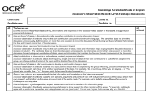 Observation record - Level 2 - Manage discussions (DOC