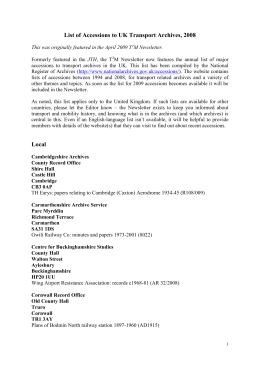 List of Accessions to UK Transport Archives, 2008 This was
