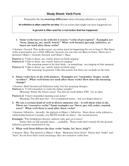 Study Sheet: Verb Form