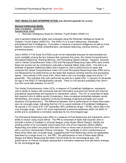 Wechsler Adult Intelligence Scale-Fourth EditionWAIS-IV