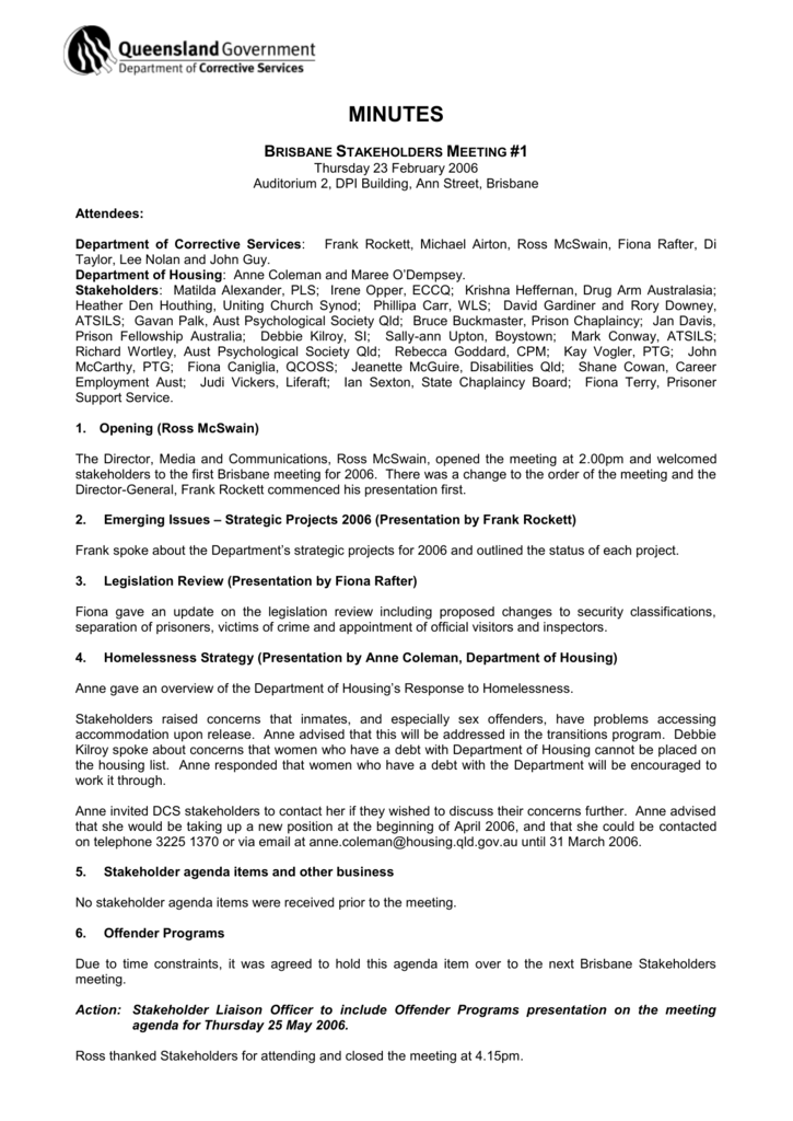Minutes of Brisbane Stakeholders Meeting #1, 23 February 2006