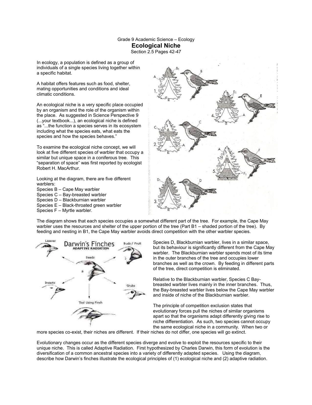 Sections of ecology and their brief characteristics. Main sections of ecology