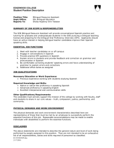 Bilingual Education- Resource Assistant