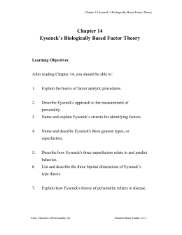 Chapter 14 Eysenck`s Biologically Based Factor Theory Chapter 14