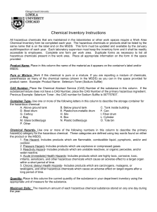 Chemical Inventory Instructions