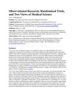 Observational Research, Randomised Trials, and Two Views of