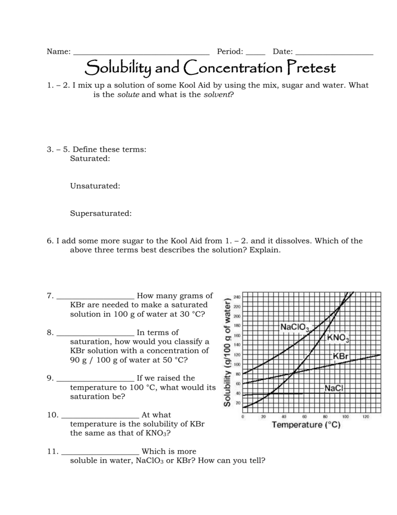 Solubility and Concentration Review
