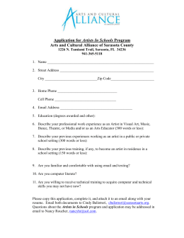 Application for Artists In Schools Program - Sarasota