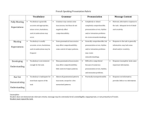 French Speaking Interaction Rubric (Teacher`s Copy)