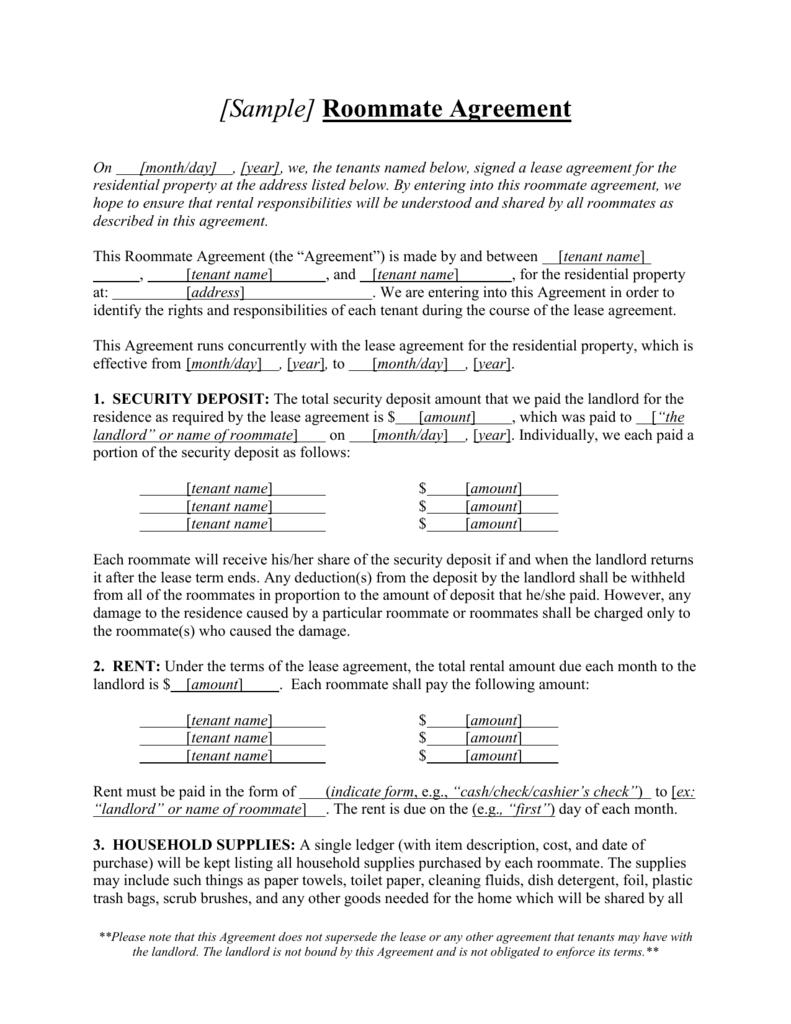 SAMPLE] Roommate Agreement