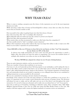 WHY TEAM OLEA - Keller Williams Realty