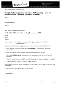 IEP Letter to parents pre-meeting - Special Education Online