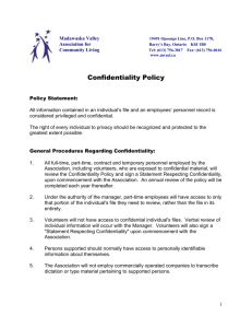Confidentiality and Statement - Madawaska Valley Association for