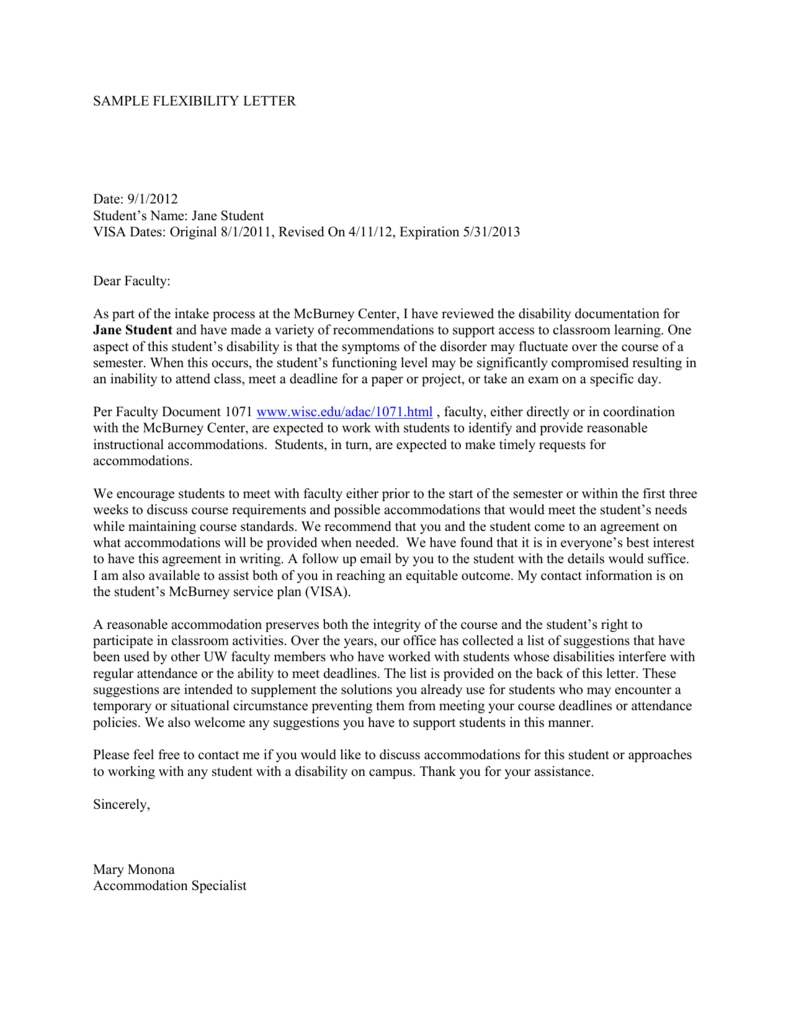 link to sample flexibility letter - McBurney Disability ...