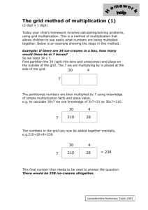 The grid method of multiplication
