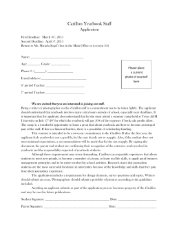 Carillon Yearbook Staff Application First Deadline: March 31st, 2015