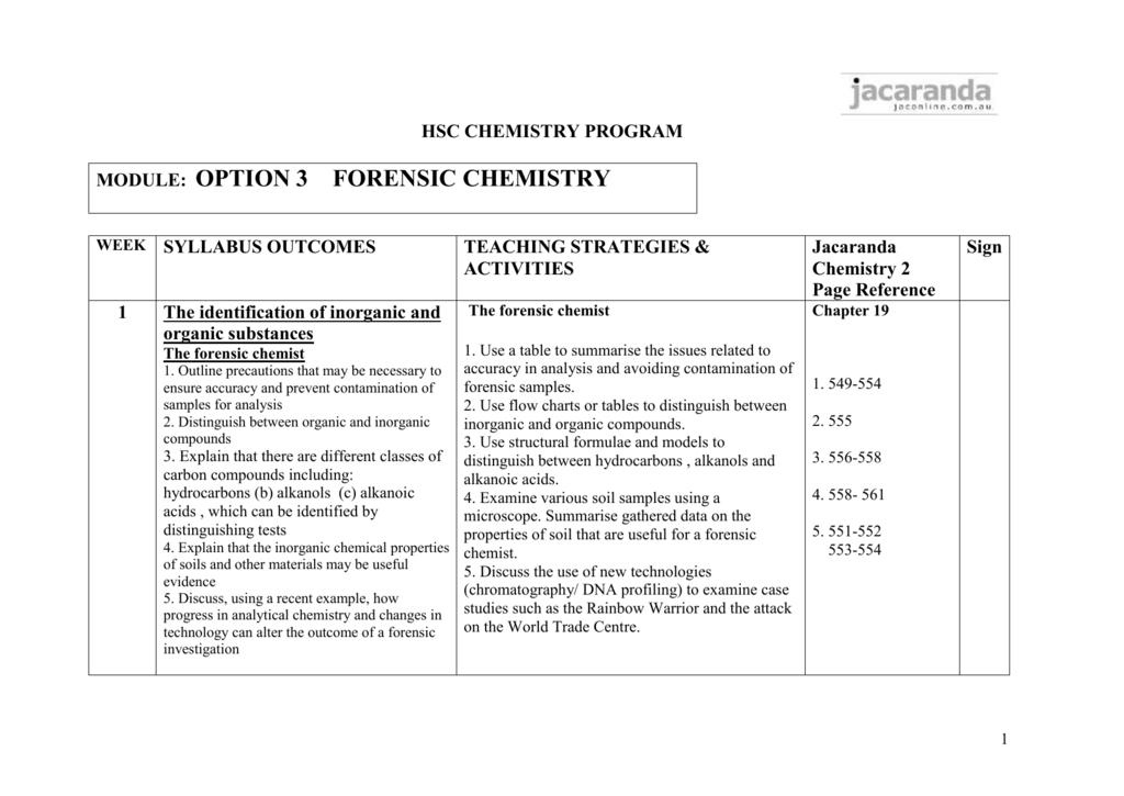 Option 3 Forensic chemistry