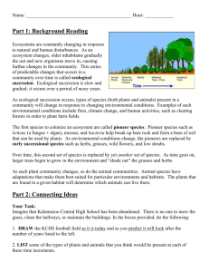 Ecological Succession Introductory Activity
