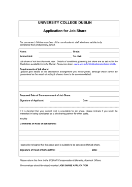 Job Share Application Form - University College Dublin