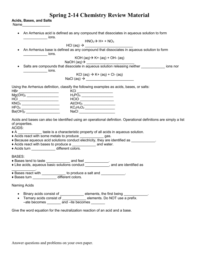 worksheet Naming Acids Worksheet Answers worksheet acids bases and salts review